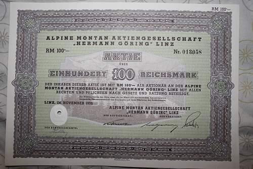 Herman Goering Alpine Montan AG Linz 100 RM bond 1939