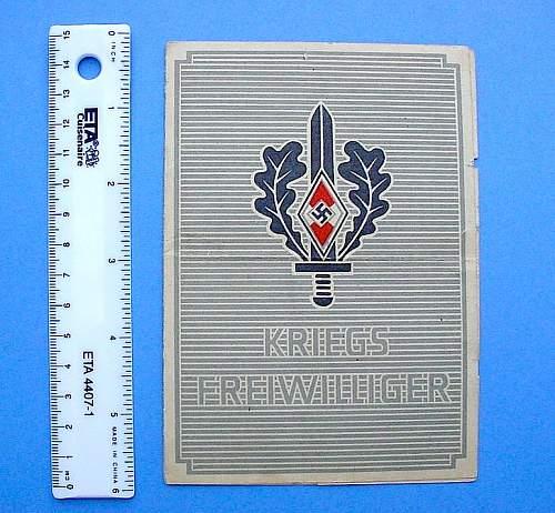 Kriegsfreiwilliger der Hitler Jugend Document