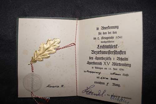 DRLG German sports organization awards  issued to the same woman