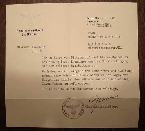 Reich Chancellery letter