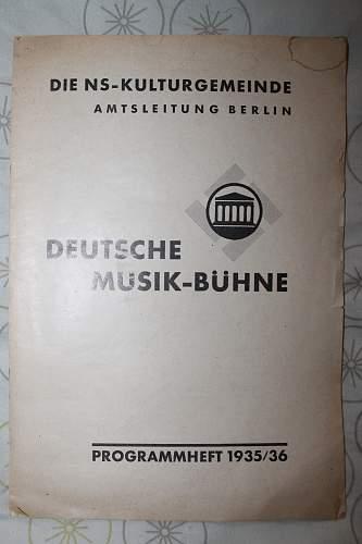 Die NS Kulturgemeinde-deutsche musik buhne programheft 1935/36