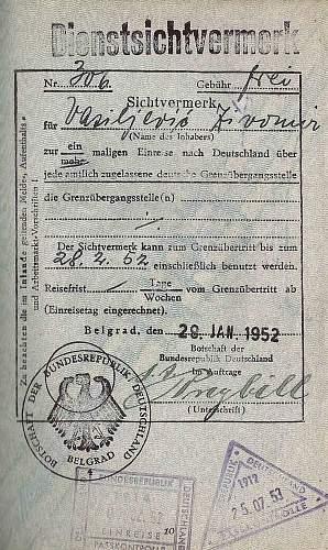 German visa 1939 & 1952, same diplomat...