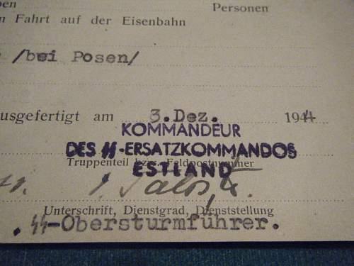 SS Ersatzkommandos Train Ticket to Posen