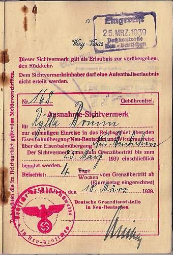1939 special and odd German visa...