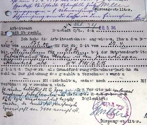 Wehrmacht 1936 work card?