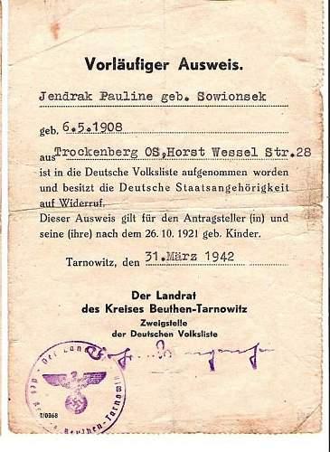Temporary Ausweis 1942