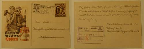 1936 XI Olympic Pin - WHW Poscard and one with Hitler