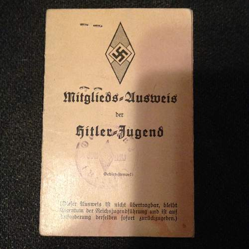 Young lady's Hitler Youth ID and photo