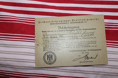 Reichsverkehrgruppe Kraftfahrgewerbe bescheiningung 1936