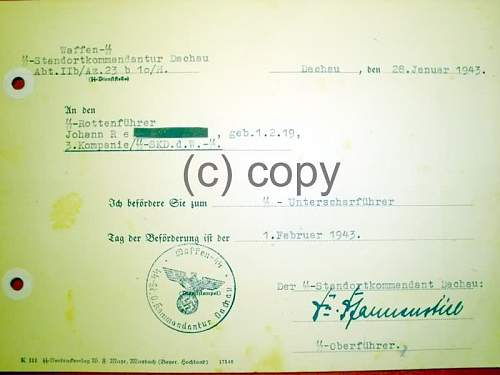 "SS-Wachbataillon Prag"" promotion document"