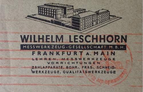 Stamp on Wilhelm Leschhorn Messwerkzeug- Gesellschaft M.B.H