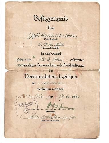 Besitzzeugnis - Verwundetenabzeichen in Schwarz