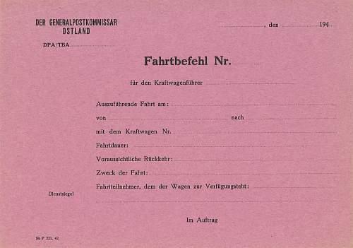 Fahrtbefehl - Generalpostkomissar Ostland
