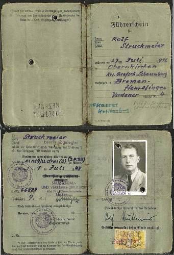 1948 Rolf Struckmeier U-Boat captain post-war license