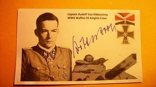 Post War Rudolf Von Ribbentrop signature original?