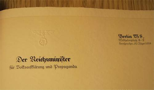 Book showing official stationery produced for the use of Hitler's chancellery
