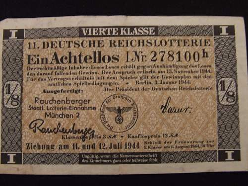 Nazi Loto Ticket With a cool back story!
