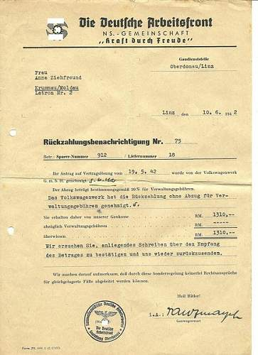 Document Refunding KdF-Wagen Payments...