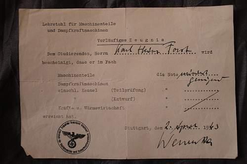 Technische Hochschule Stuttgart mechanical engineering 1941 documents