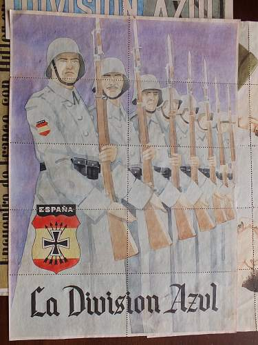 ww2 propaganda coupons Spanish Blue division, Hitler and Franco