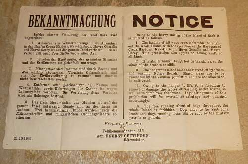 German poster from Guernsey, Channel Islands.