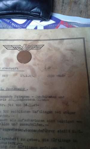 Letter An Kommandanten K. L. Buchenwald.