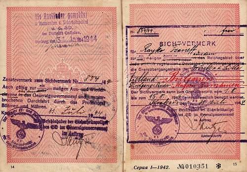 SS visas inside a Bulgarian passport