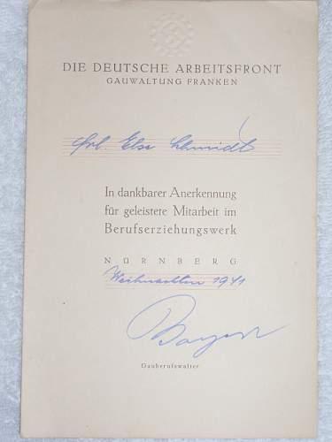 Die Deitsche Arbeitsfront Gauwaltung Franken 1941