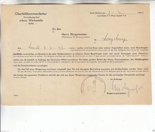 Belgian Kommandantur documents