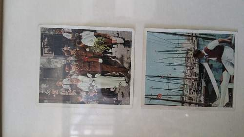 I believe these are WW2 cigarette cards. Some of them are pretty cool.