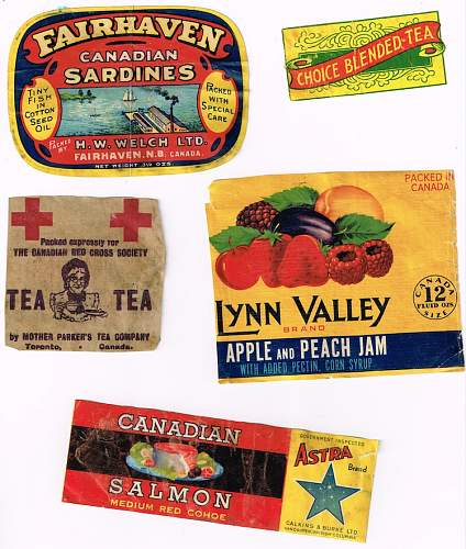 Red Cross food tin labels