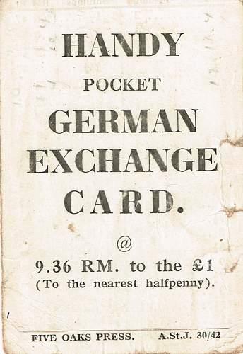 Handy pocker German exchange card.
