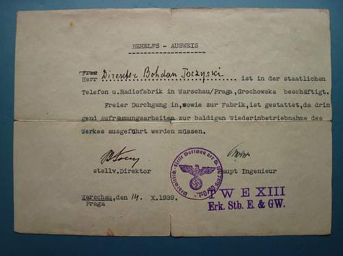 very early Ausweis for Warsaw - 1939