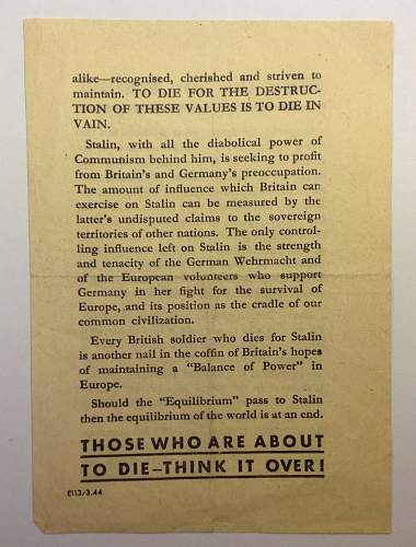 Why die for Stalin? Propaganda leaflet dropped on British troops