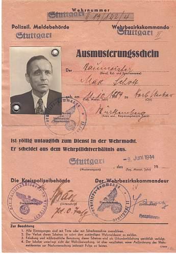 Ausmusterungsschein (unfit for service) Document