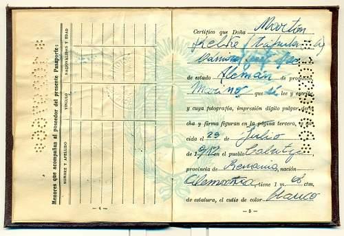 Graf Spee officer issued passport?