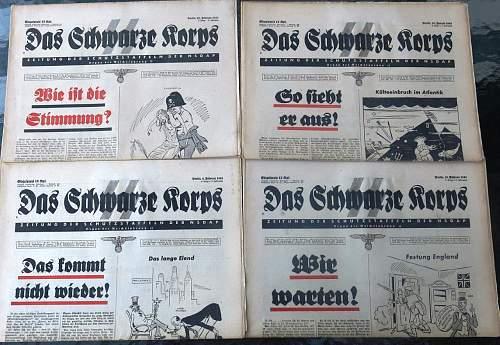 Das Schwarze Korps newspapers 1940 to 1943