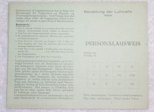 Bauleitung der Luftwaffe Vejle Personalausweis