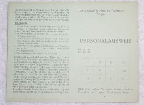 Click image for larger version.  Name:Bauleitung der Luftwaffe Vejle Personalausweis_1.JPG Views:18 Size:72.8 KB ID:959468