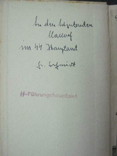 SS Book by Brigadefuhrer Friedrich Schmidt, marked and signed: Any info about this and authenticity?