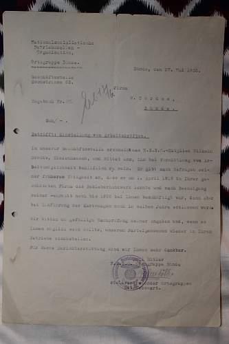 NSBO Ortsgruppe Bunde documents/letters