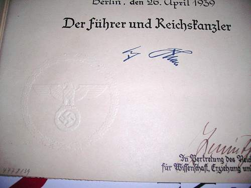 Question on original document with Hitler's signature.