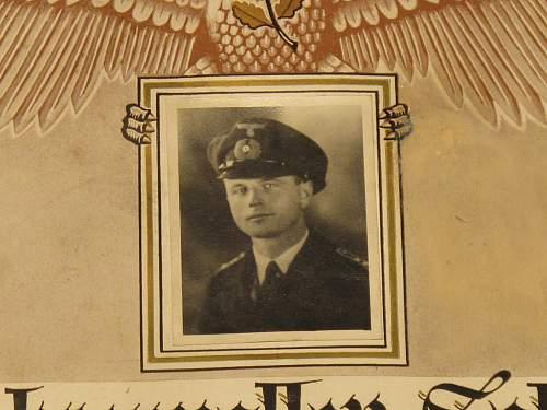 Kriegsmarine Sailors record/award certificate