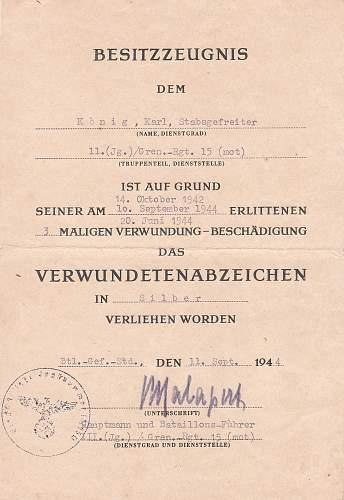 Document to Gren Regt 15 , 29 Panzer Grenadier Divison