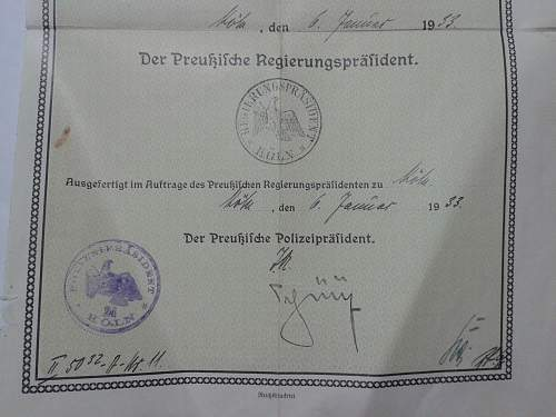 Pre-Third Reich Prussian Police Document
