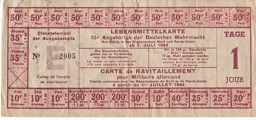 German soldiers ration book page ?