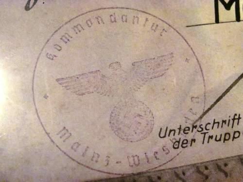 Wehrmacht Soldier's 1939 Unit Award Document