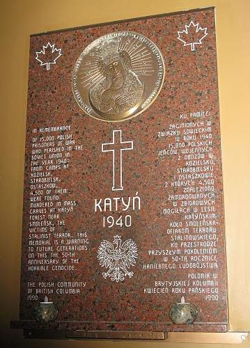 Click image for larger version.  Name:Katyn Comm Plaque St Casimir's Church Vancouver, BC CA.jpg Views:283 Size:186.6 KB ID:109369