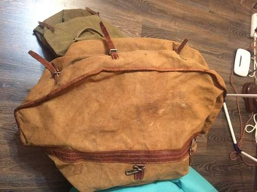 Big canvas Bag with leather elements warszawa stamp
