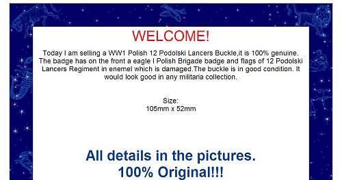 Click image for larger version.  Name:WW1 Polish 12 Podolski Lancer BUCKLE 194GBP (2).jpg Views:75 Size:94.2 KB ID:119239